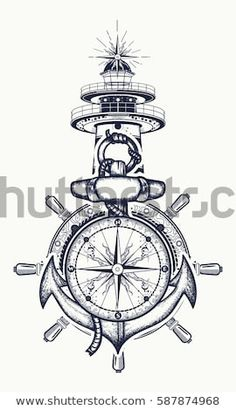 Anchor, steering wheel, compass, lighthouse, tattoo art. Symbol of maritime adventure, tourism, travel. Old anchor and lighthouse t-shirt design - compre este vetor na Shutterstock e encontre outras imagens.