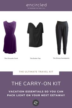 Looking for travel essentials for your next getaway? Try The Carry-On Kit Packing List For Travel, Packing Lists, Dressy Sweatpants, Travel Clothing, Travel Kits, Vacation Outfits, Travel Essentials, Capsule Wardrobe, How To Stay Healthy