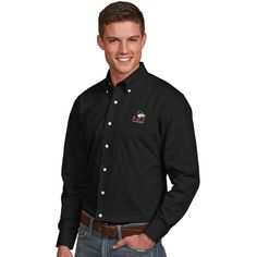 Northern Illinois Huskies Antigua Dynasty Woven Long Sleeve Button-Down Shirt - Black
