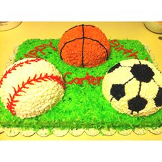 Carter's First Birthday sports ball cake. Used a half ball pan for the balls and colored coconut for grass.