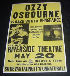 Ozzy Osbourne-Riverside Theatre,Milwaukee WI ,USA,May 20th 1981 concert poster