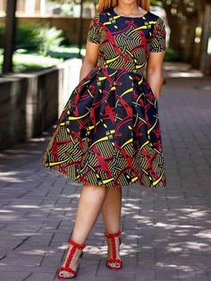 Print Mid-Calf Round Neck Standard-Waist Color Block Casual Dresses – Erchic by laviye African Fashion Ankara, Latest African Fashion Dresses, African Dresses For Women, African Print Dresses, African Print Fashion, African Attire, African Dress Styles, Ankara Short Gown Styles, Short Gowns