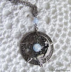 Moon Goddess Vintage Ornate Silver Pentagram Necklace Pendant. $48.00, via Etsy.