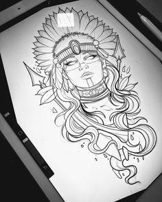 Tattoo Design Drawings, Tattoo Sketches, Art Sketches, Tattoo Designs, Body Art Tattoos, Hand Tattoos, Sleeve Tattoos, Aztec Warrior Tattoo, Headdress Tattoo
