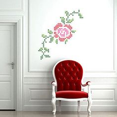 Diy faux painted cross stitch wall mural tutorial wall for Cross stitch wall mural