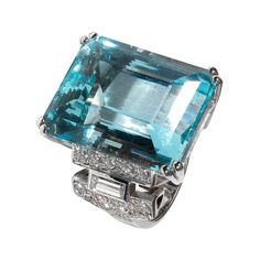 Aquamarine 35.40 carats and Diamond Ring | From a unique collection of vintage cocktail rings at http://www.1stdibs.com/jewelry/rings/cocktail-rings/