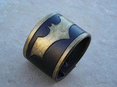 Batman Logo Leather Cuff Bracelet