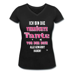 Verrückte Tante Frauen T-Shirt mit V-Ausschnitt von Spreadshirt®, M, Schwarz