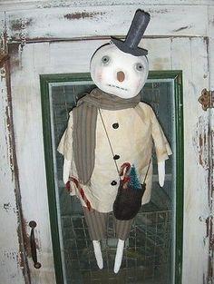 Primitive Olde Folk Art Snowman Doll With Pine Tree