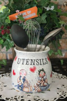 Gingerbread Ceramic Utensil HolderKitchen by CraftsByJoyice, $34.95