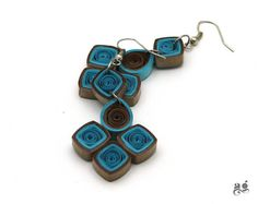 Blue Grey earrings Paper Quilling Earrings Statement