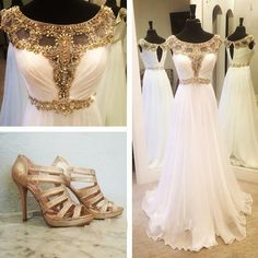 Bateau Neck Illusion Crystal Beaded Long Prom Dress, A-line Cap Sleeves White Chiffon Prom Dress, Princes Key Hole Sweep Train Prom Dress, #020102511