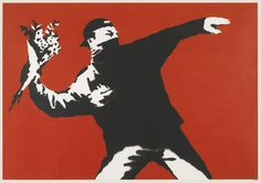 """""""Flower Thrower (Love is in the Air)"""", screenprint on paper, by Banksy"""