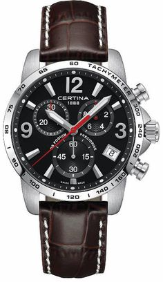 Certina Watch DS Podium Chrono #add-content #basel-16 #bezel-fixed #bracelet-strap-leather #brand-certina #case-depth-11-68mm #case-material-steel #case-width-41mm #chronograph-yes #date-yes #delivery-timescale-1-2-weeks #dial-colour-black #gender-mens #l