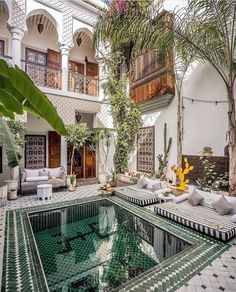 Tucked away above Marrakesh's bustling medina is a quaint and outrageously stunning oasis, Riad Yasmine. With just 7 rooms, this traditional Moroccan home boasts incredible views of the Atlas Mountains from its spacious rooftop terrace and also has one of the most photogenic plunge pools in the