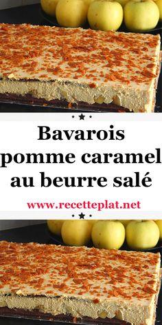 Bavarois pommes caramel au beurre salé, un gâteau que vous pouvez réaliser pour un anniversaire, pour les fêtes de fin d'année et surtout pour noel. Cream Cheese Flan, Cake Factory, Biscuits, Pavlova, Cheesecakes, Cornbread, Mousse, Desserts Caramel, Brunch