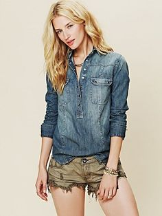 Denim Pullover by Free People. Love the shorts, too.