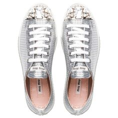 Designer Clothes, Shoes & Bags for Women Silver Metallic Shoes, Metallic Sneakers, Lace Sneakers, White Shoes, Lace Up Shoes, Me Too Shoes, Leather Cap, Leather And Lace, Miu Miu Sneaker