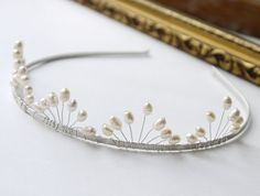 pearl wedding tiara freshwater ivory rice pearl silver tiara alice band headband, fan band design, for bride