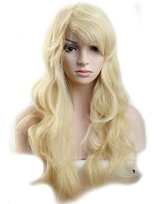 Heat Resistant Synthetic Wig Japanese Kanekalon Fiber 10 Colors Full Wig with Bangs Long Curly Wavy Full Head for Women Girls Lady Fashion and Beauty 23'' / 58cm (Bleach Blonde) * Visit the image link more details.