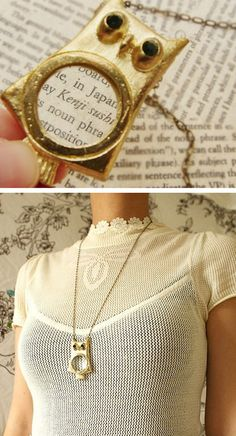 Owl Magnifying Glass Necklace- I seriously need this when I am out shopping so I don't have to wear my reading glasses!
