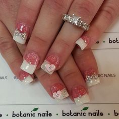 French nails with diamonds and glitter