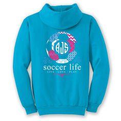 Soccer Life Custom Monogram Hoodie - Large / Neon Blue