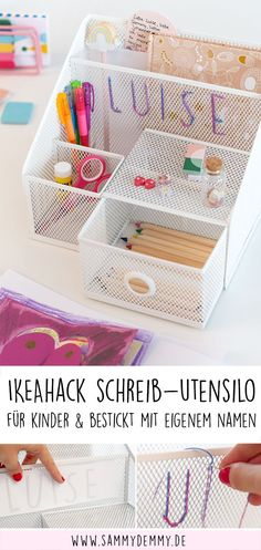 Personalized desk organizer and utensil for children - Organize children& desk, children& desk ideas, children& desk DIY, children& - Organisation Ikea, Ikea Kids Desk, Childrens Desk, Diy Desk, Mason Jar Crafts, Kids Gifts, Diy Crafts For Kids, Nursery Decor, Nursery Ideas
