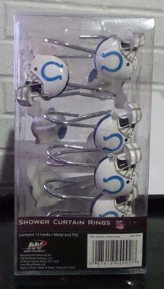 NFL Indianapolis Colts Set Bathroom PVC Shower Curtain Hooks Rings  #Northwest