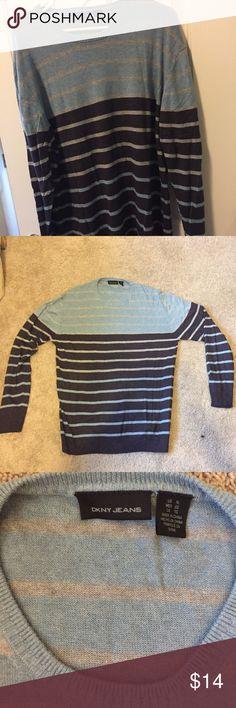 DKNY Jeans men's sweater XL DKNY Men's sweater. Light weight. BLue/Gray/Purple stripes. XL Crew neck. No rips or tears. EUC DKNY Sweaters Crewneck