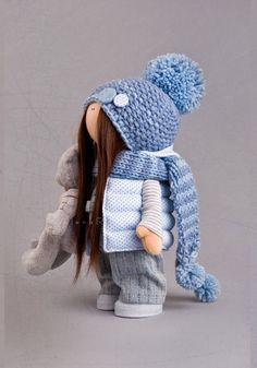Cloth doll Fabric doll Textile doll Winter doll Blue doll Soft