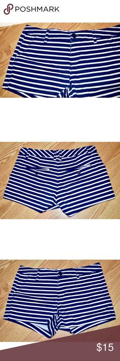 Striped Navy and White Shorts White and Navy Striped Shorts! Size 7!! Never worn, like new. My bundles are now 20% of 2 or more items!! Make offers!! Shorts