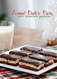 Peanut Butter Bars with Chocolate Ganache: