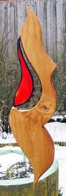 Peter Kahlen - Glaskunst-Lauf auf KUSELVER, Holz-Glas-Skulptur orange-rot zum Haengen