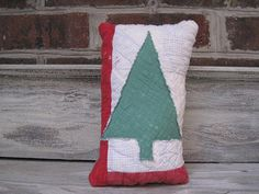 Vintage Holiday Quilt Pillow  Pretty Christmas by TheCornerRoom