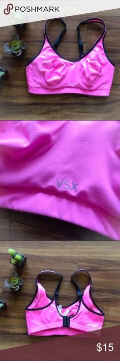 Victoria's Secret Sport Sexy Pink Sports Bra Hot pink with a built in bra. Provides medium support in my opinion. In great condition with no flaws. I'm only looking to sell at this time so sorry but no trades. My listing price is firm. Victoria's Secret Intimates & Sleepwear Bras