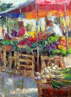 """""""Farmers Market No. 1 and winner of the painting."""" - Original Fine Art for Sale - © Julie Ford Oliver"""