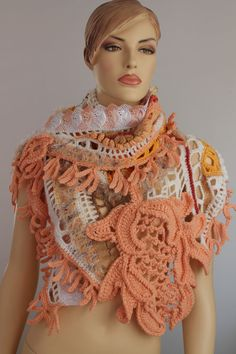 Lace  Freeform Crochet  Shawl / Wearable Art / OOAK by levintovich, $265.00