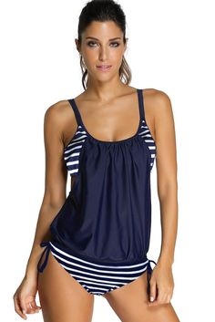 Crazycatz@ Womens Two Piece Tankini Swimsuit with Surfing Short
