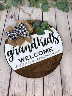 Grandkids Welcome Front Door Sign | Front Door Decor | Round Door Sign | Door Hanger | Grandparent G