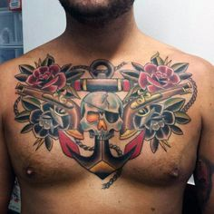 Skull And Anchor Traditional Guys Upper Chest Tattoos