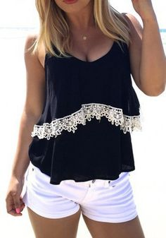 Black Patchwork Condole Belt Lace Round Neck Vest