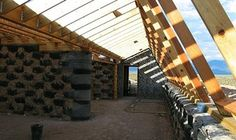Unfinished earthship interior view