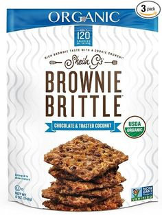 Sheila G's Organic Non-GMO Brownie Brittle Chocolate & Toasted Coconut - Pack of 3 (5 Oz. Ea.)