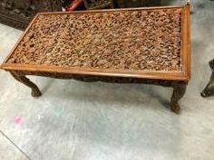 Rustic Coffee Table Floral Carving Wood Latticework Indian Furniture