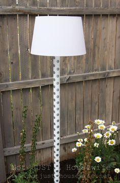 Outdoor solar-powered-lamp using PVC pipe, solar powered light, and lampshade