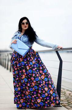 nice Maxi spódnica&jeans. Na łowicką nutę by http://www.globalfashionista.xyz/plus-size-fashion/maxi-spodnicajeans-na-lowicka-nute/