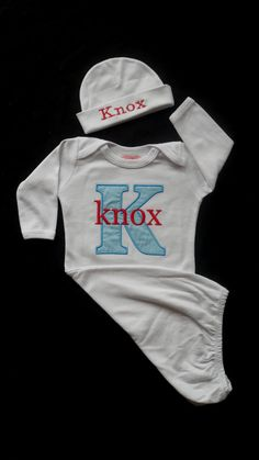Personalized Layette Gow and Personalized Beanie Hat by LilMamas, $36.90