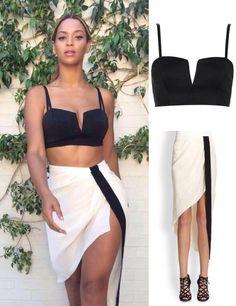 Beyoncé Wears Topshop Petite Seam V Bralet $40 & Haute Hippie Asymmetrical Wrap Effect Skirt $395