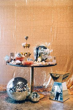 A Sparkly Holiday Party To Inspire You This Season New Year's Eve party decor idea - gold, glitter backdrop, disco ball decor and champagne tower {Courtesy of Glitter Guide} Studio 54, New Year's Eve Party Themes, New Years Eve Party, Ideas Party, Theme Ideas, New Years Wedding, Decor Ideas, New Years Decorations, Table Decorations